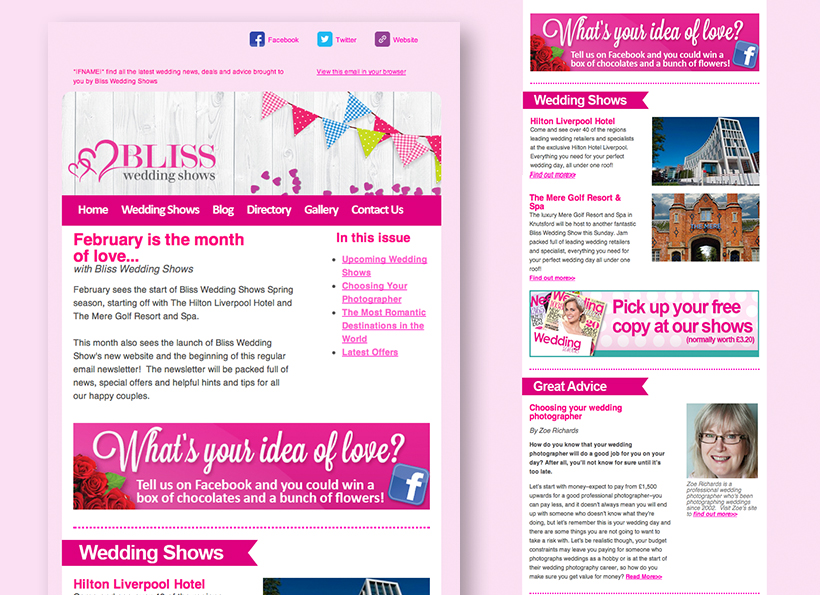 New Bliss Wedding Shows E-Newsletter